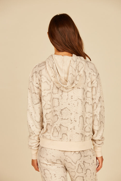 Tan Snakeskin Reverse Burnout Fleece Hoodie