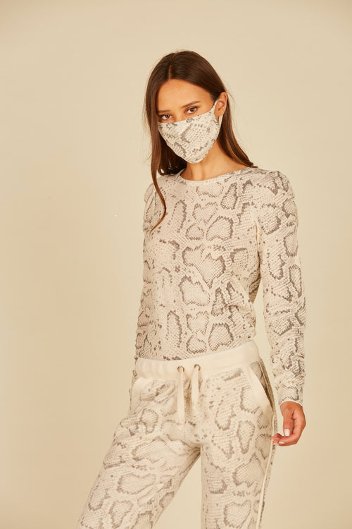 Tan Snakeskin Thermal Long Sleeve Crew Neck