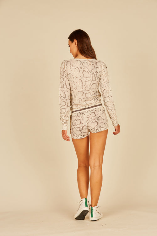 Tan Snakeskin Thermal Lounge Shorts