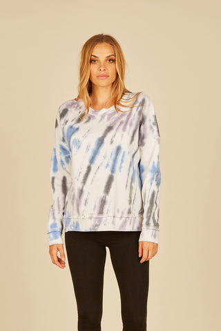 Diagonal Earthtone Tie Dye Side Slit Crew