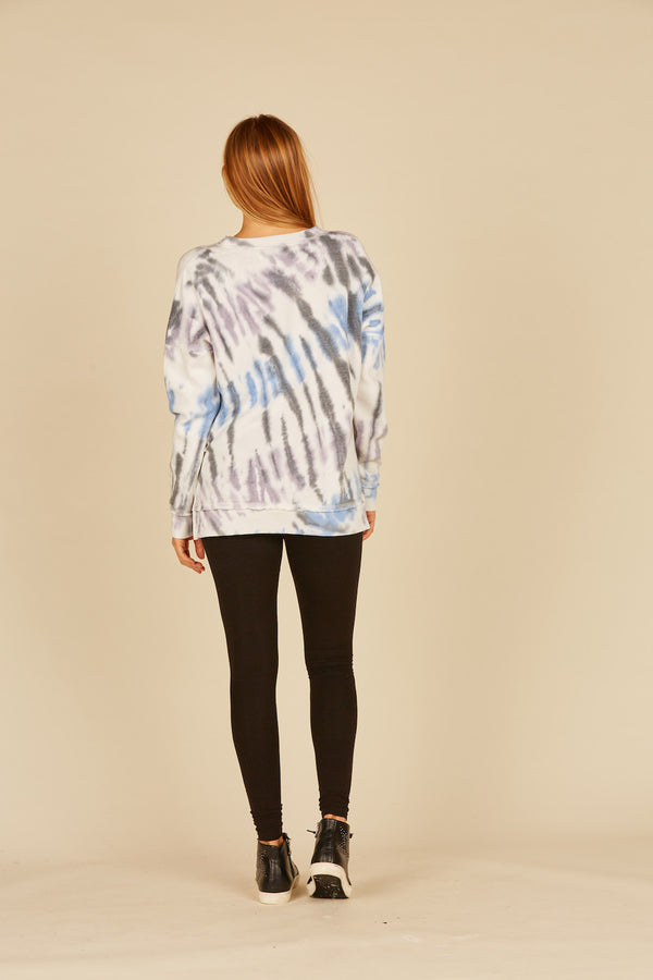 Diagonal Seaside Tie Dye Side Slit Crew