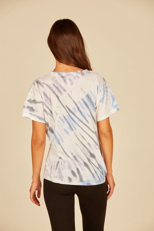 Diagonal Seaside Tie Dye Burnout Side Tie Tee