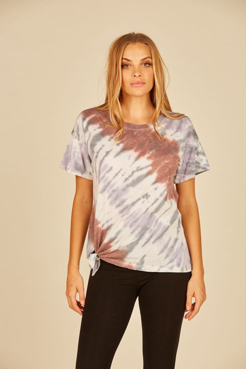Diagonal Earth-tone Tie Dye Burnout Side Tie Tee