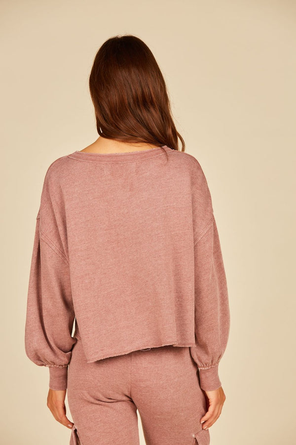 Light Cabernet Burnout Balloon Sleeve Crewneck