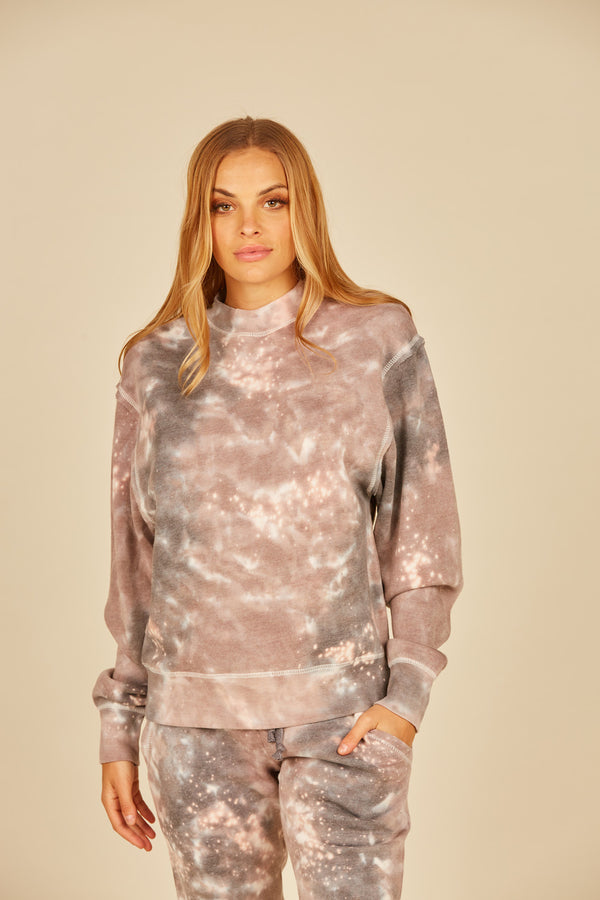 Khaki/Charcoal Galaxy Tie Dye Mock Neck Crew