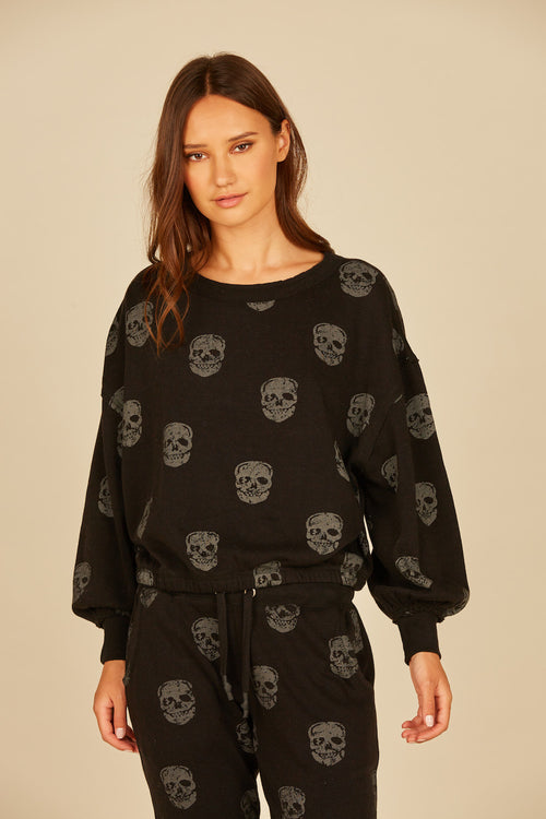 Skull Print Burnout Fleece Crew
