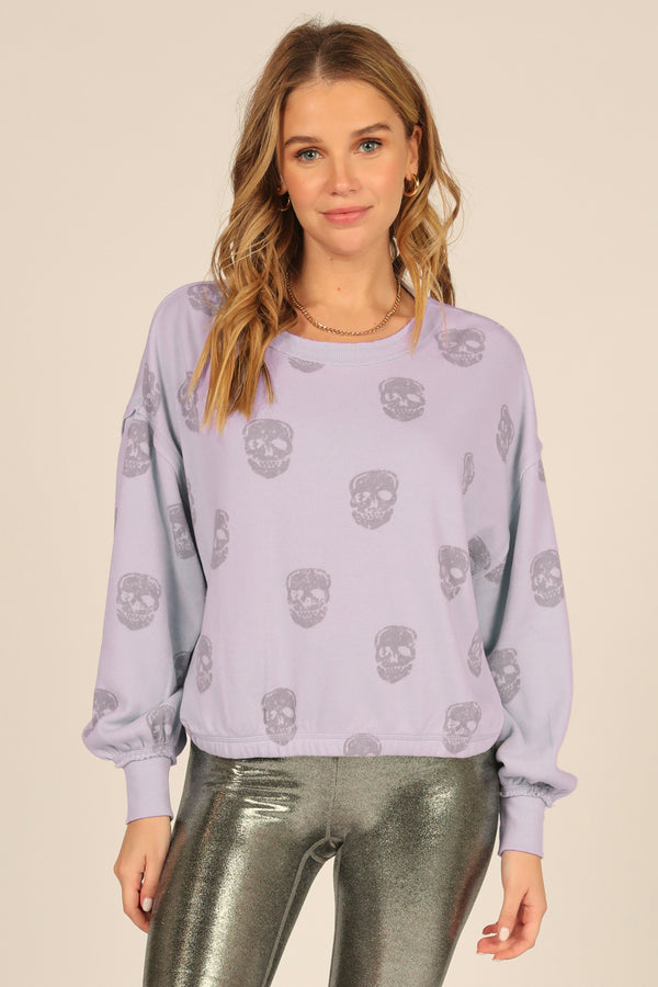 Dusty Lavender Skull Print Burnout Crew