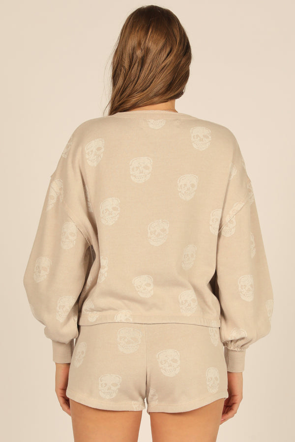 Tan Skull Print Burnout Crew