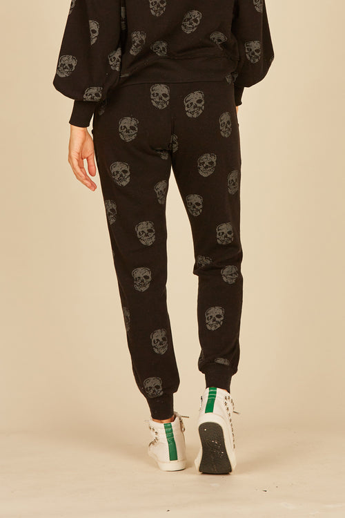 Skull Print Burnout Fleece Jogger