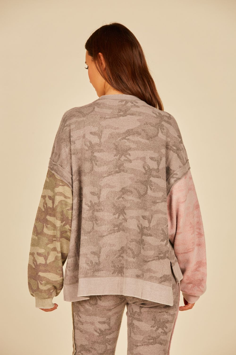 Grey/Pink/Green Reverse Burnout Tricolor Camo Crew