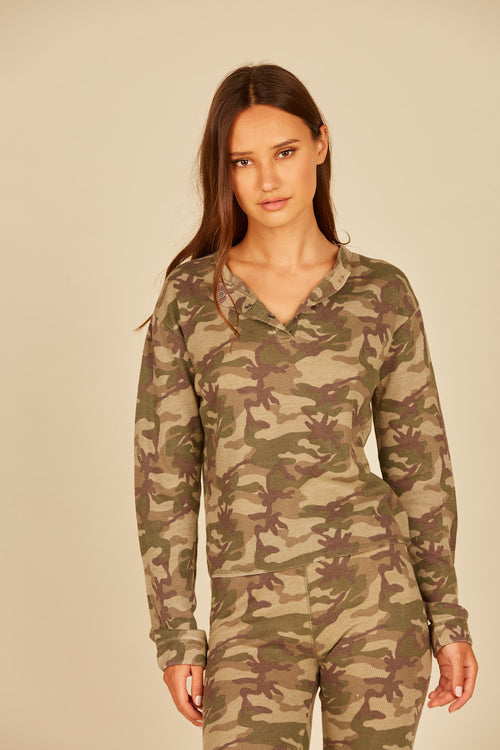 Green/Grey Camo Thermal Henley