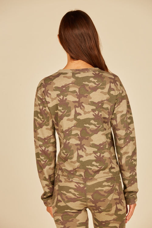 Green Camo Thermal Henley