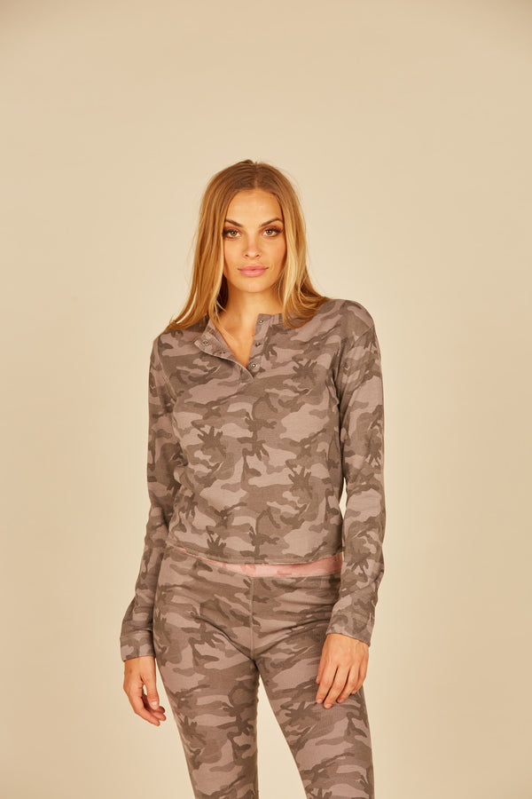 Grey/ Pink Camo Thermal Henley