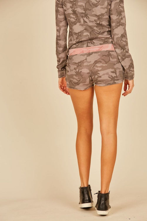 Grey/Pink Camo Thermal Lounge Shorts