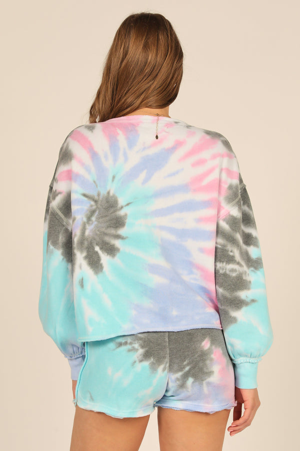 Seabreeze Tie Dye Balloon Sleeve Crewneck