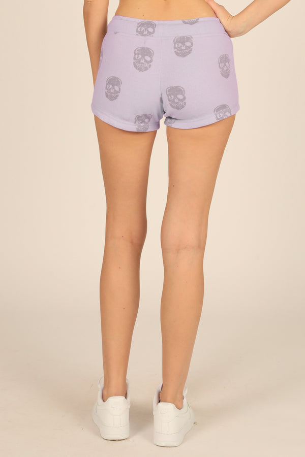 Dusty Lavender Skull Print Burnout Short