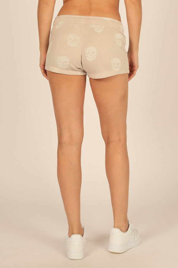 Tan Skull Print Burnout Short