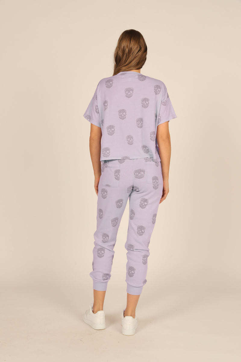 Dusty Lavender Skull Print Boxy Crop Tee