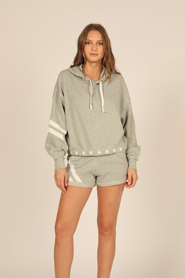 Grey Stars and Stripes Heather Fleece Hoodie