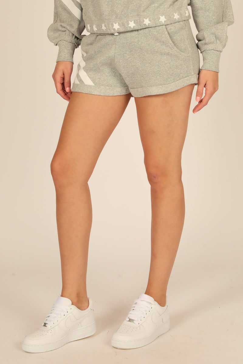 Grey Stars and Stripes Heather Fleece Shorts