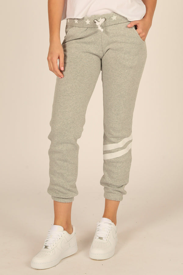 Grey Stars and Stripes Heather Fleece Joggers