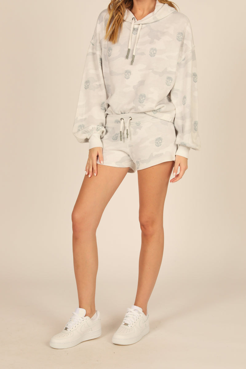 White/Grey Camo & Skull Print Shorts