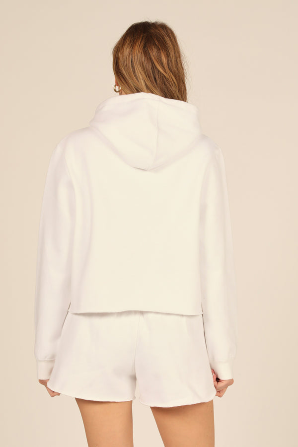 White Proweave Cropped Hoodie