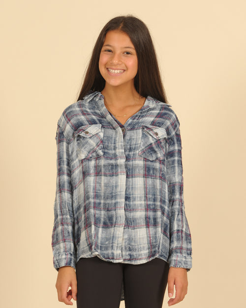 Shoulder Cut Out Laced Plaid Shirt