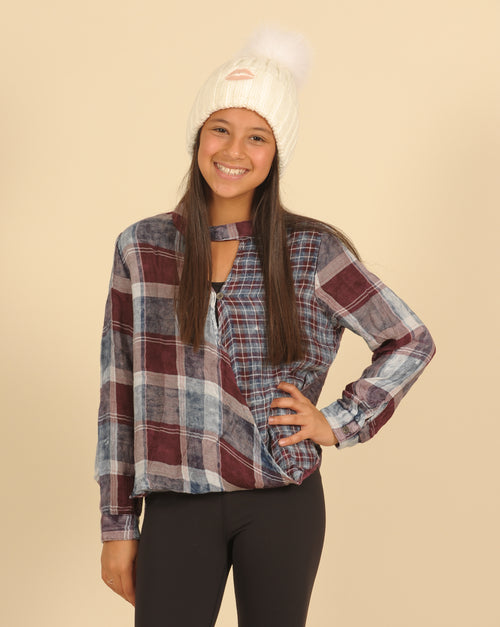 Plaid Combo Washed Surplice Top