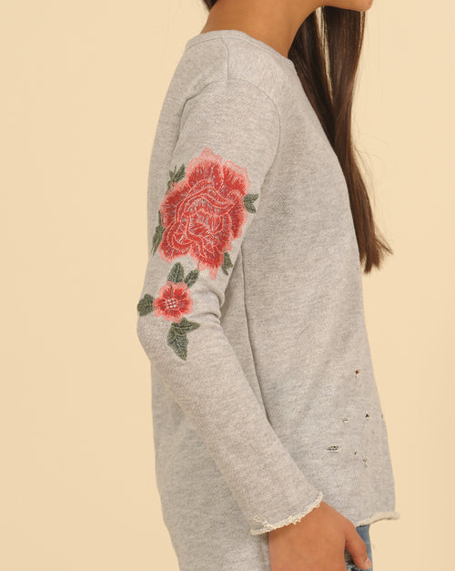 Ripped Sweatshirt w Rose