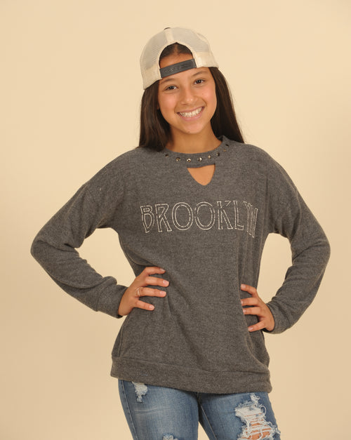 Studded Neck Brooklyn Hacci Pullover