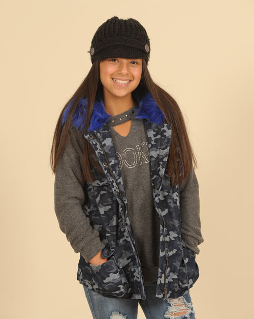 Camo Vest With Fur Lining