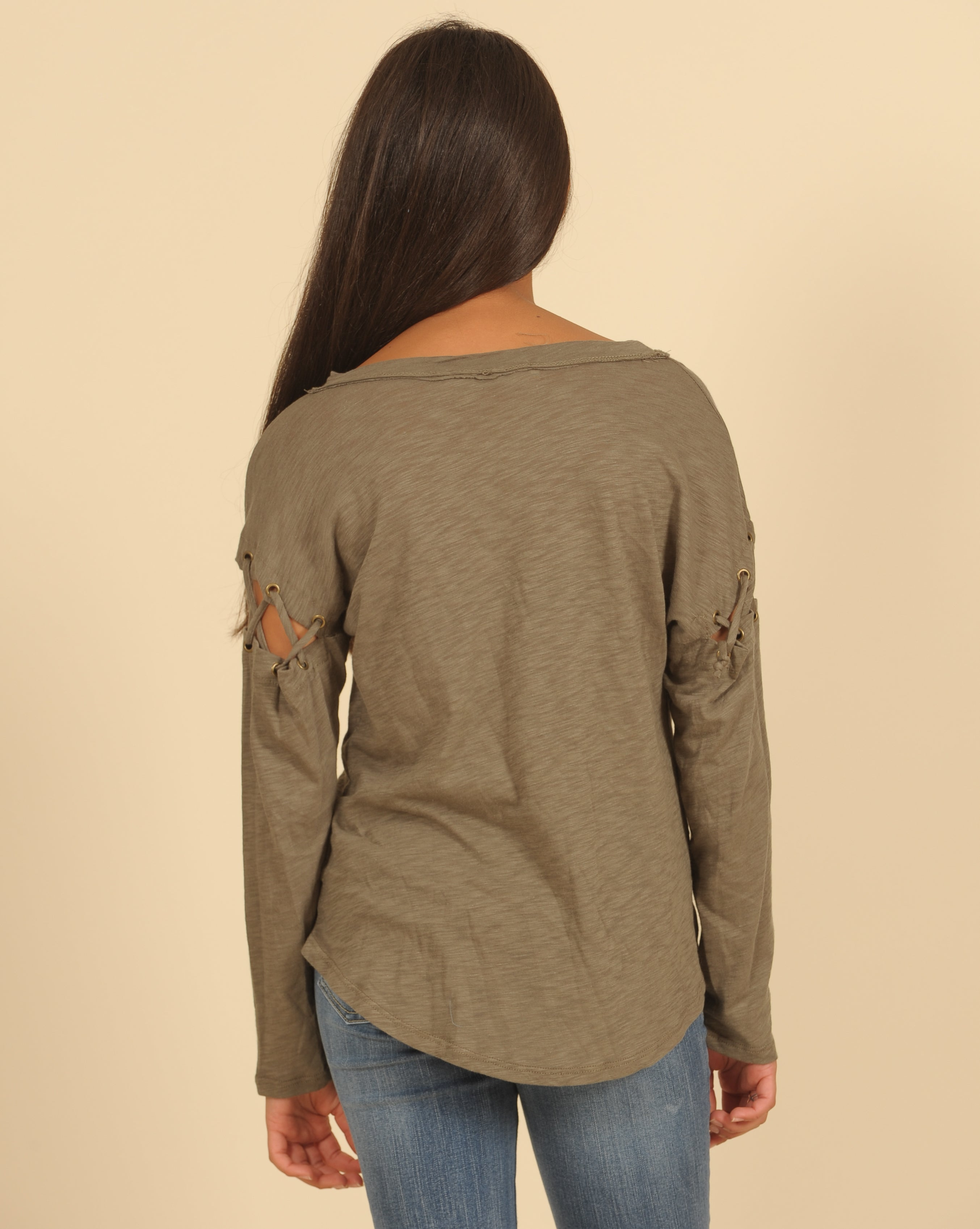 Lace Up Long Sleeve Splatter Top