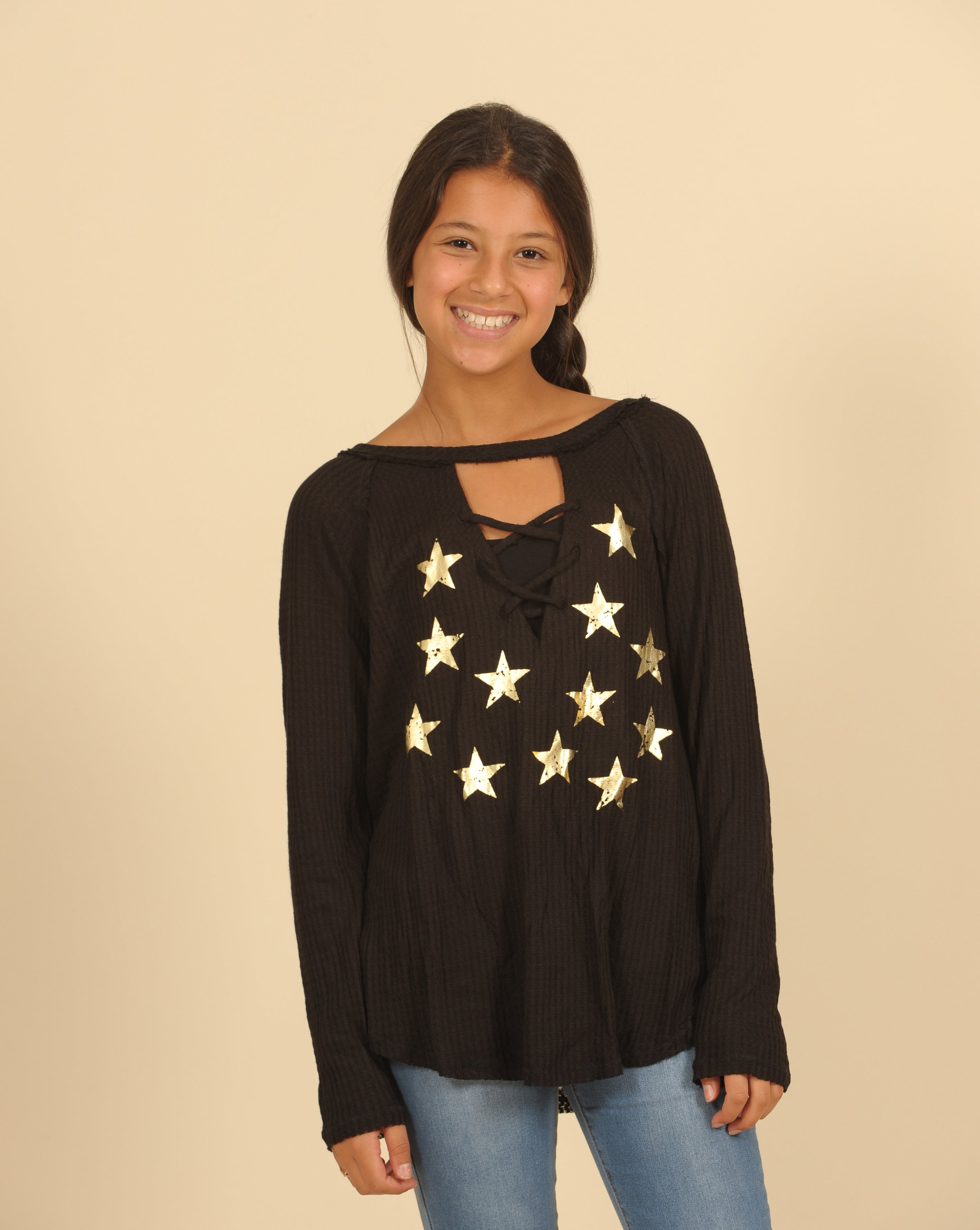 Lace Up Thermal Top With Foiled Stars