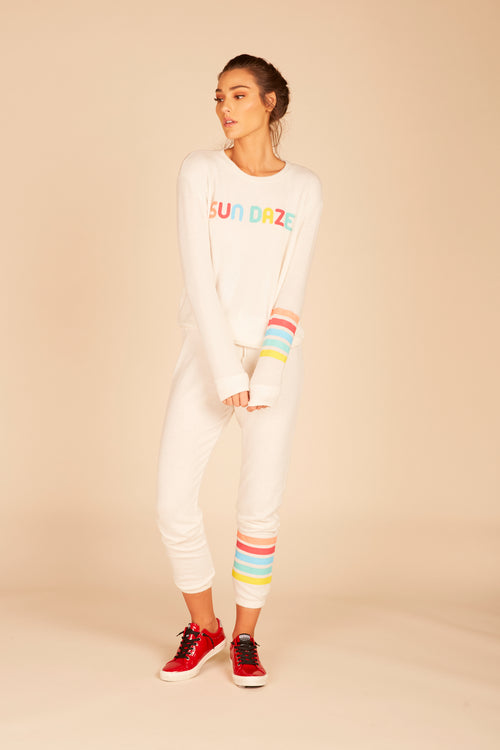 """Sundaze"" Rainbow Stripe Sweatshirt"