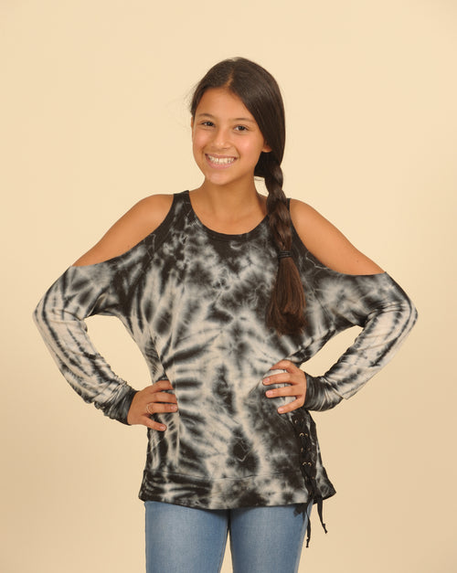 Tie Dye Lace Up Cold Shoulder Sweater