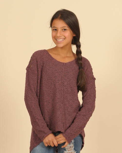 Pullover Sweater With Lace Up Shoulder Detail