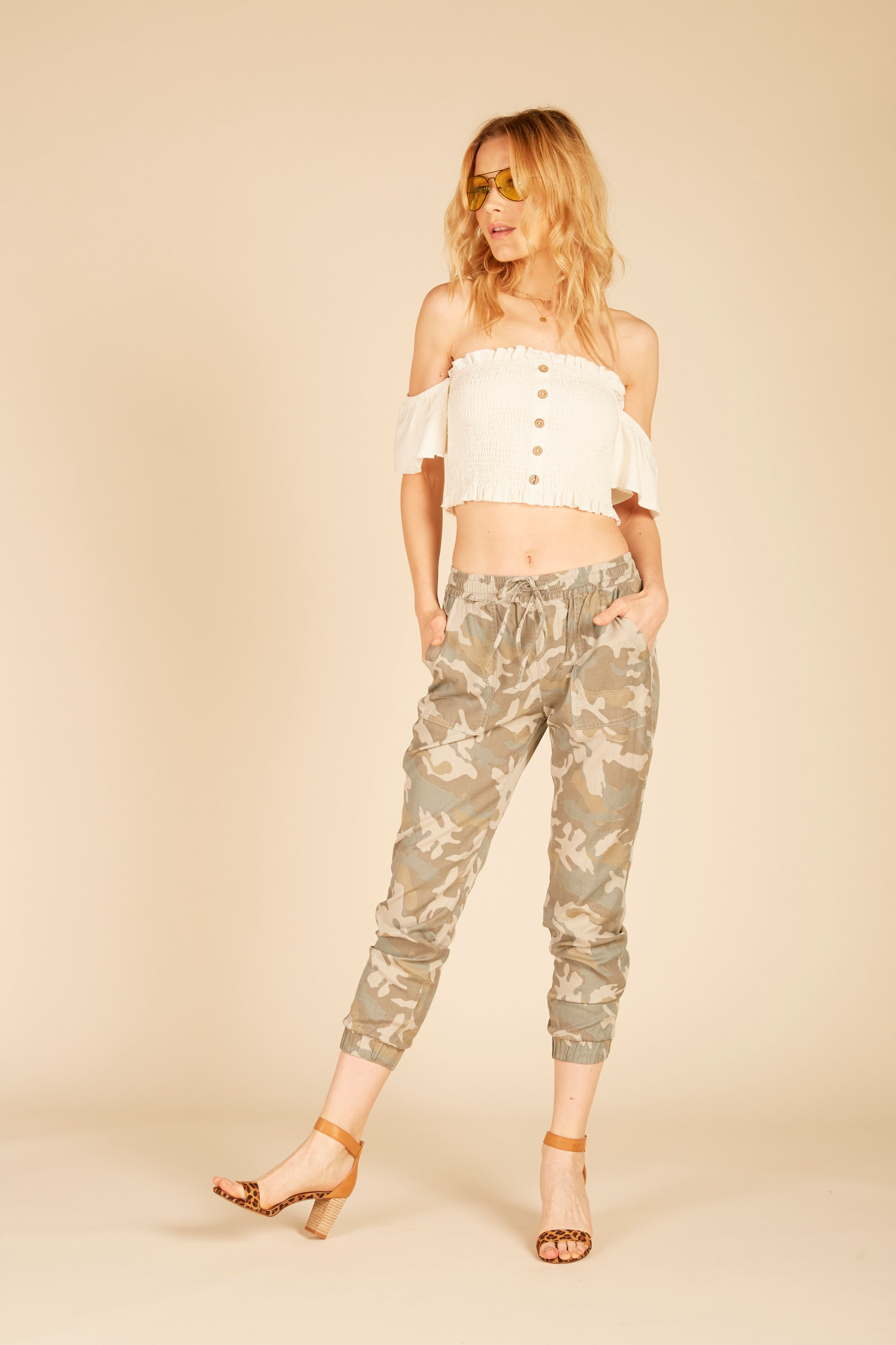 Camo Studded Tencel Pants