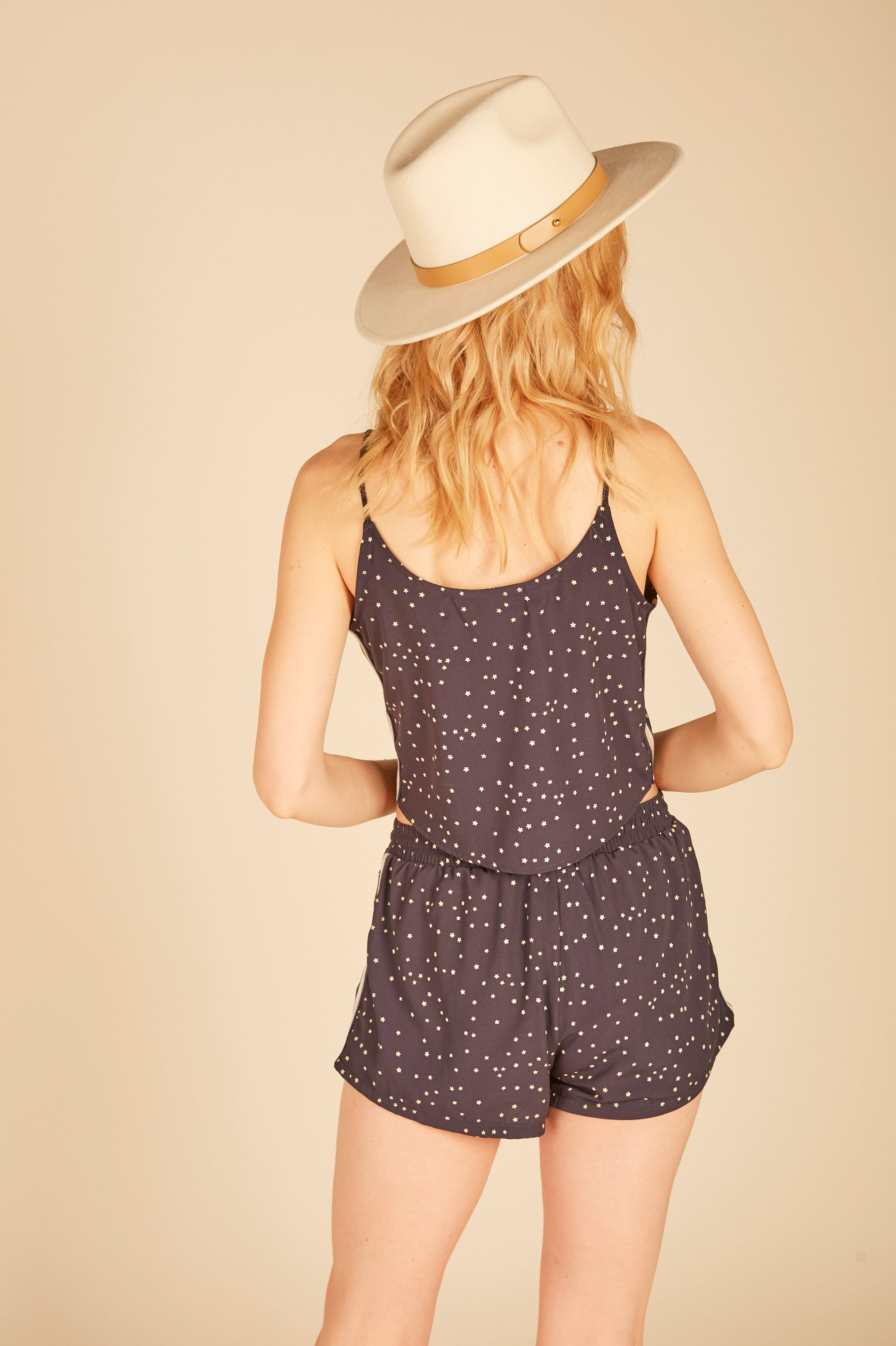 Navy Mini Stars Crop Tank Top
