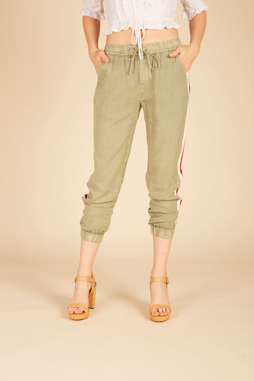 Olive Washed Tencel Pant