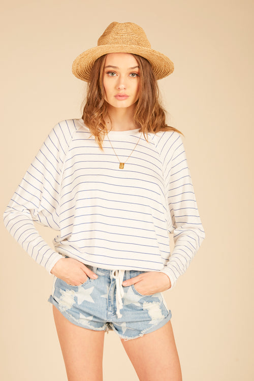 Striped Dolman Sleeve Sweatshirt