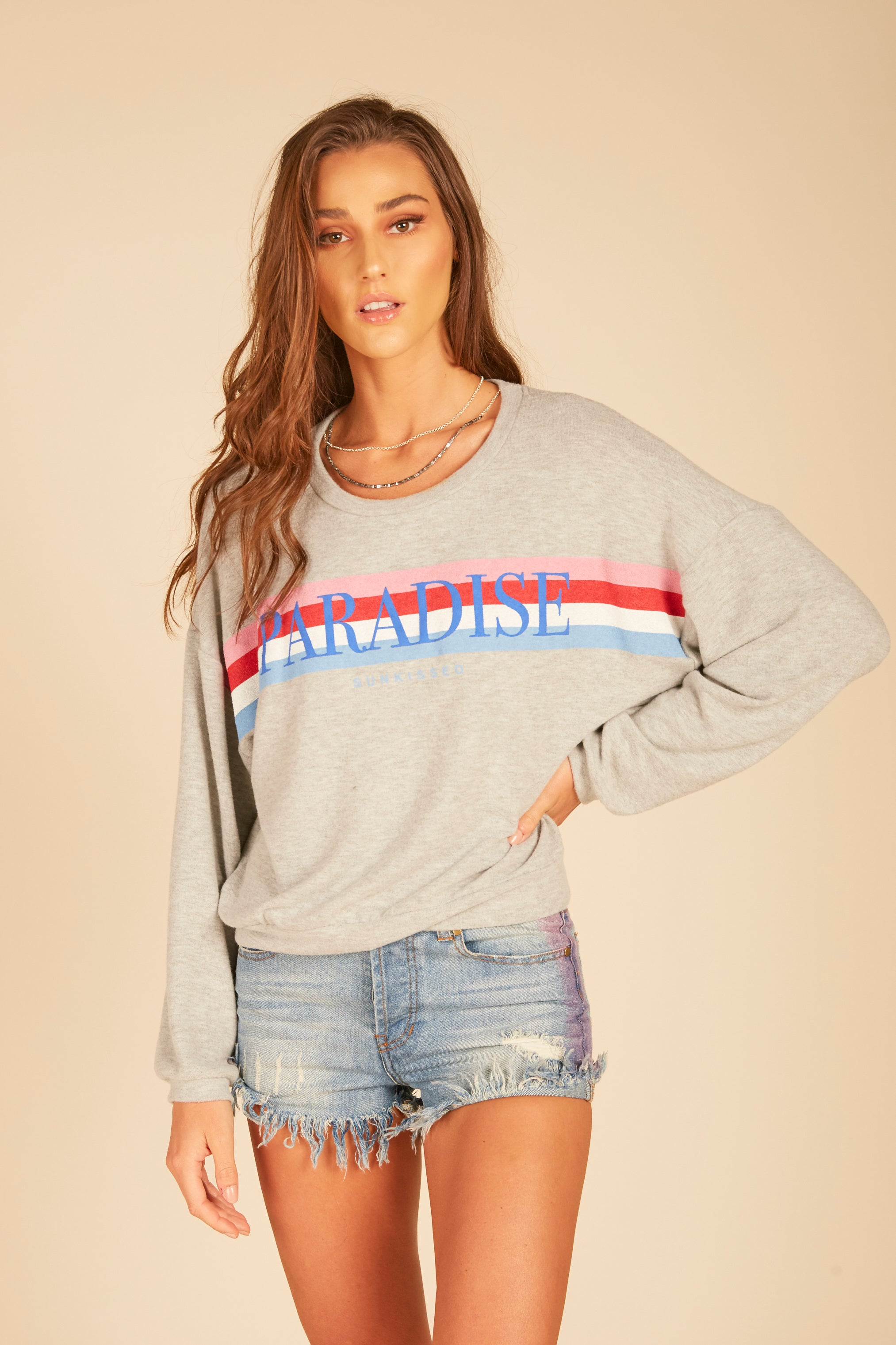 """Paradise"" Graphic Rainbow Stripe Sweatshirt"