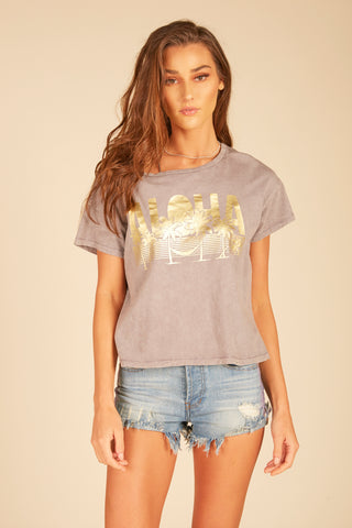 """Rock & Roll"" Graphic Oil Wash Boxy Crop Tee"