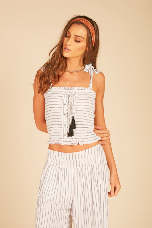 Stripe Smocked Lace Up Tank