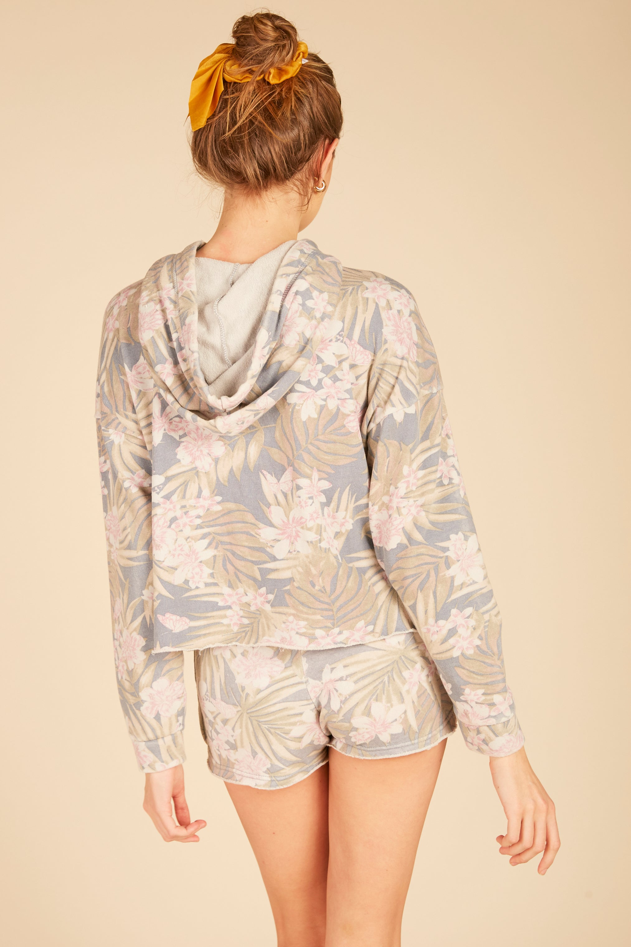 Tropical Print Boxy Crop Burnout Hoodie