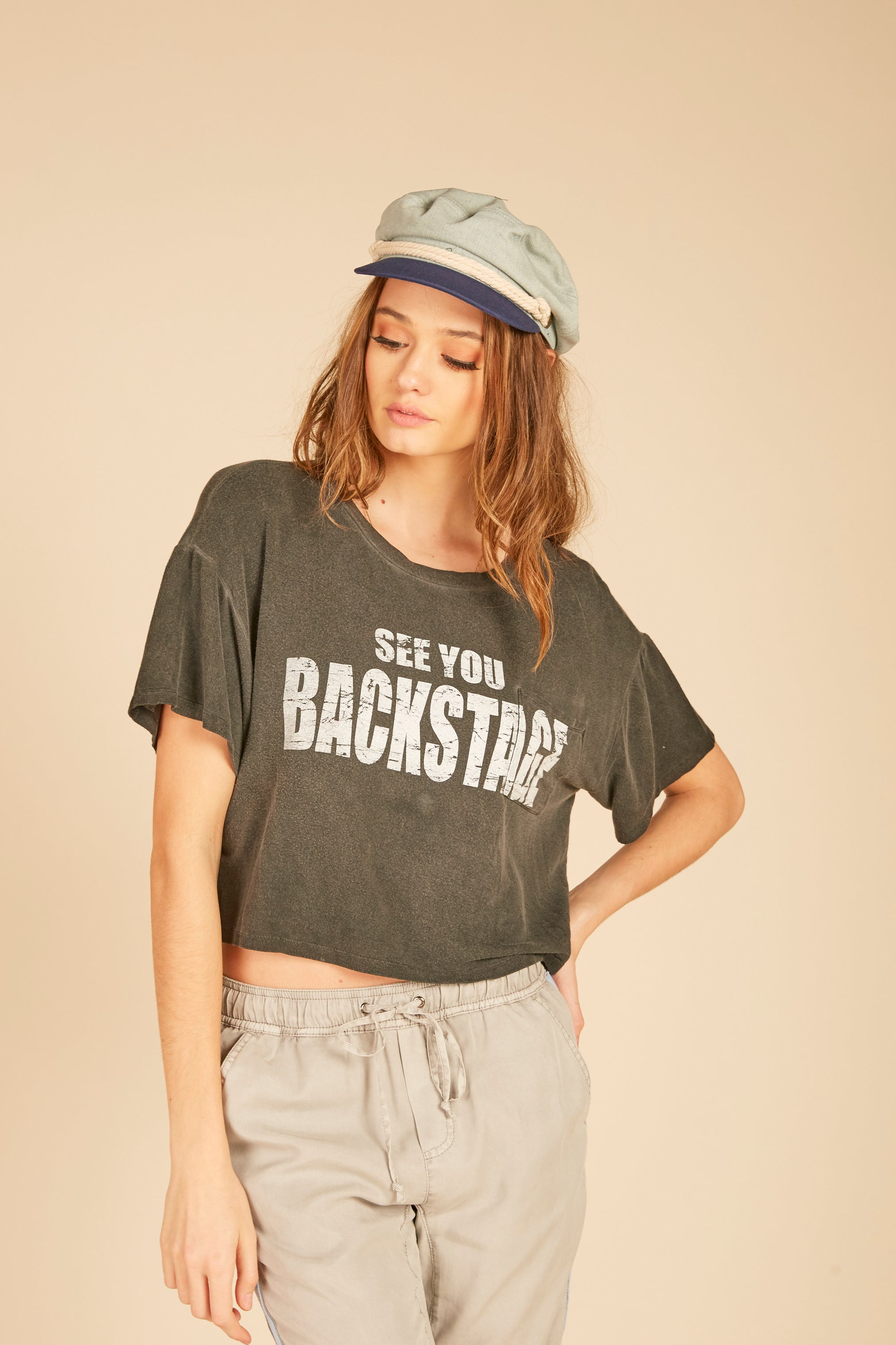 """See You ""Backstage"" Crop Tee"