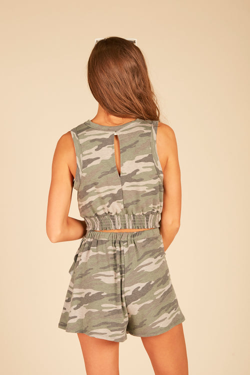 Olive Camo Smocked Bottom Tank