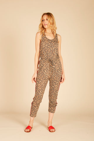 Tropical Print Racerback Jumpsuit