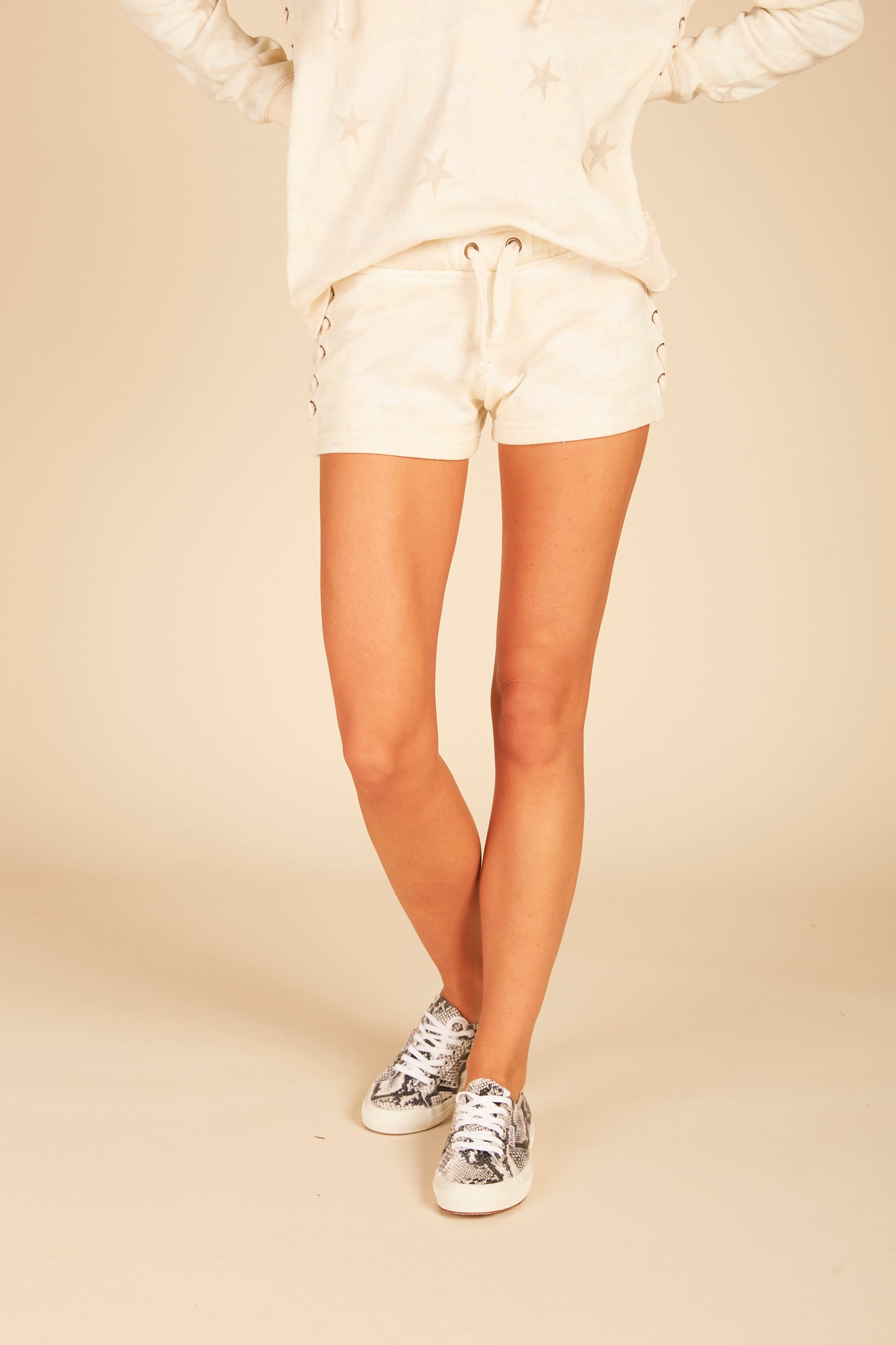 Soft Camo Lace Up Shorts