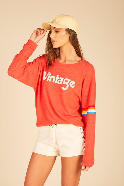 """Vintage"" Graphic Rainbow Crewneck Sweatshirt"